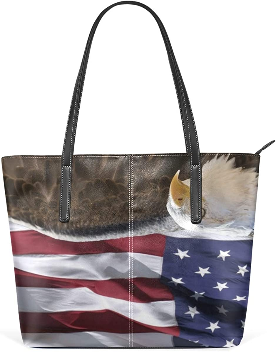 Womens Leather Tote Shoulder Bags Handbags with Bald Eagle And American Flag
