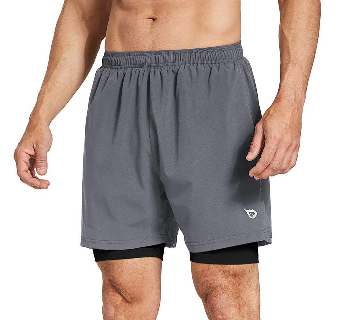 Baleaf Men's 2-in-1 Running Athletic Shorts Zipper Pocket Grey/Black Size XXL by Baleaf