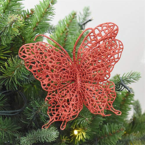 Fheaven 6Pcs Glitter Butterfly Christmas Hanging Ornaments Xmas Tree Ornaments Party Supplies (red)