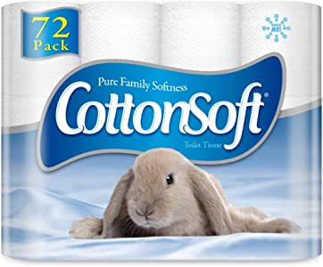 Cottonsoft 2 Ply White Toilet Tissue (210 Sheets per Roll, 11 cm x 10cm),  72 count