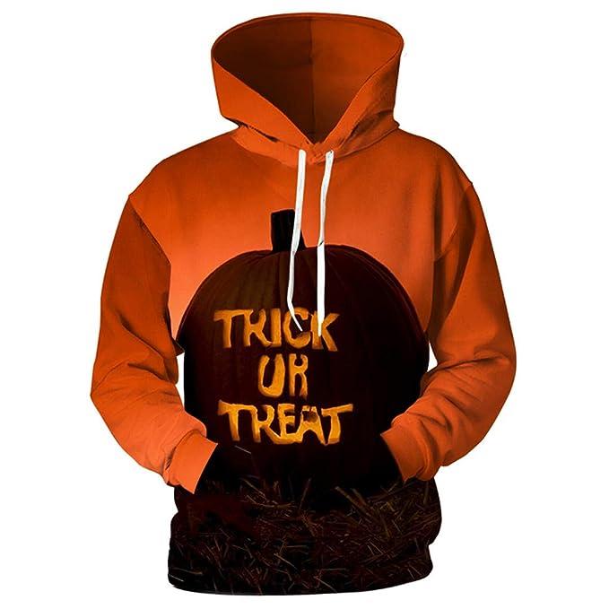 Halloween Hombre/Mujer Sudaderas con Capucha 3D Truco o Trato Imprimir Letras Sudaderas con Capucha Sudaderas Divertidas Streetwear: Amazon.es: Ropa y ...