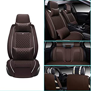 Car Seat Cover for Alfa Romeo Stelvio Front+Rear Seats Protector Covers Waterproof Soft PU Leather Cushion 5-Seater Car Pad Rhombus Brown 9PCS