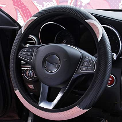 MLOVESIE Carbon Fiber Leather Car Steering Wheel Cover Protector Breathable Better Grip Anit-slip Universal for 15 inch