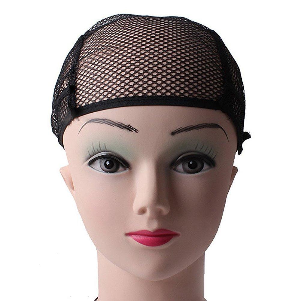 Pixnor Peluca de gorras Beige Nylon Unisex peluca tapa media estiramiento Liner redecilla malla negro