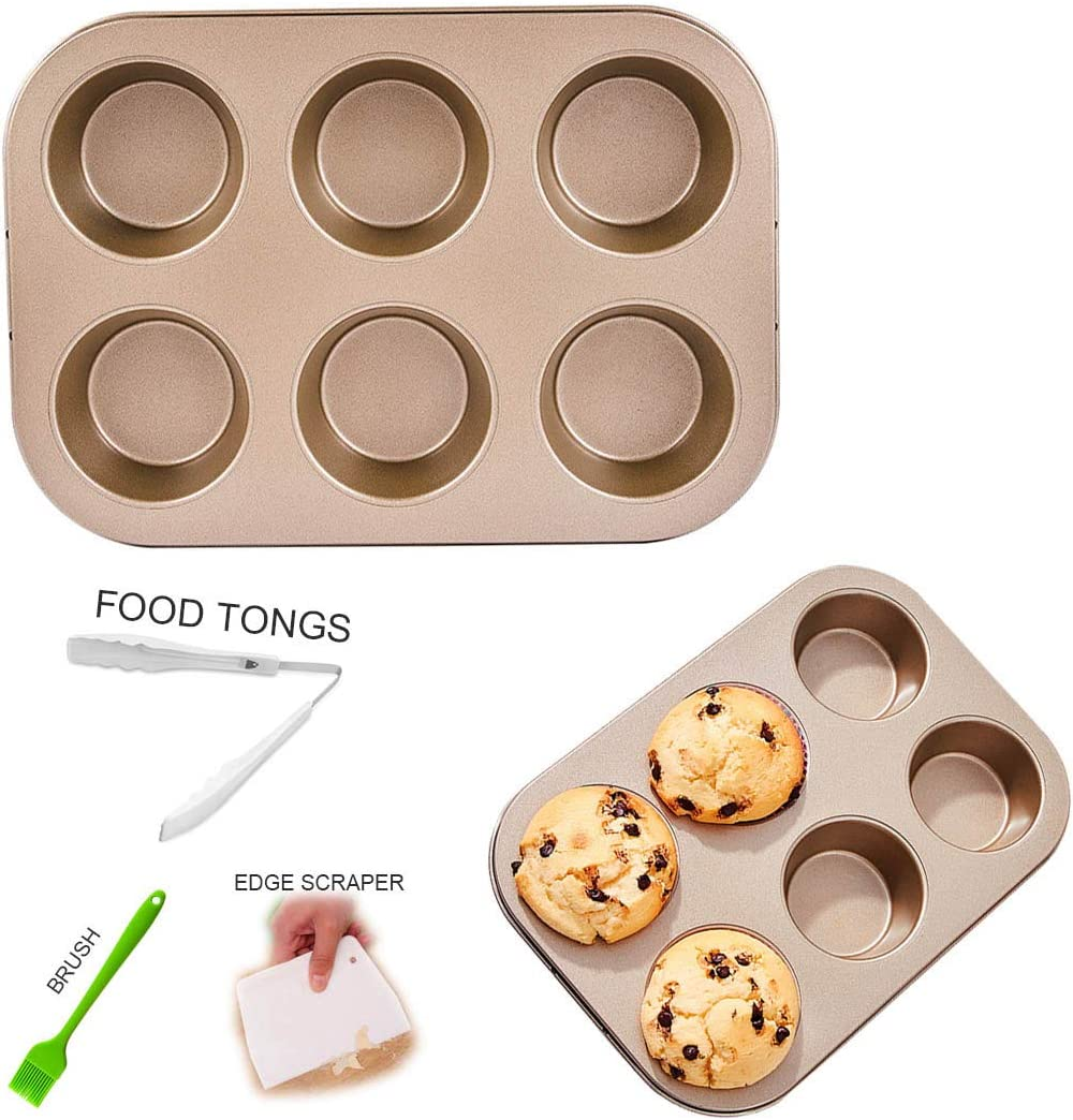 6 Cup Muffin & Cupcake Pan, Muffin Cake Pan Nonstick Brownie Pan, Heavy Duty Carbon Steel Bake for Oven Baking (6-Cavity Champagne Gold)