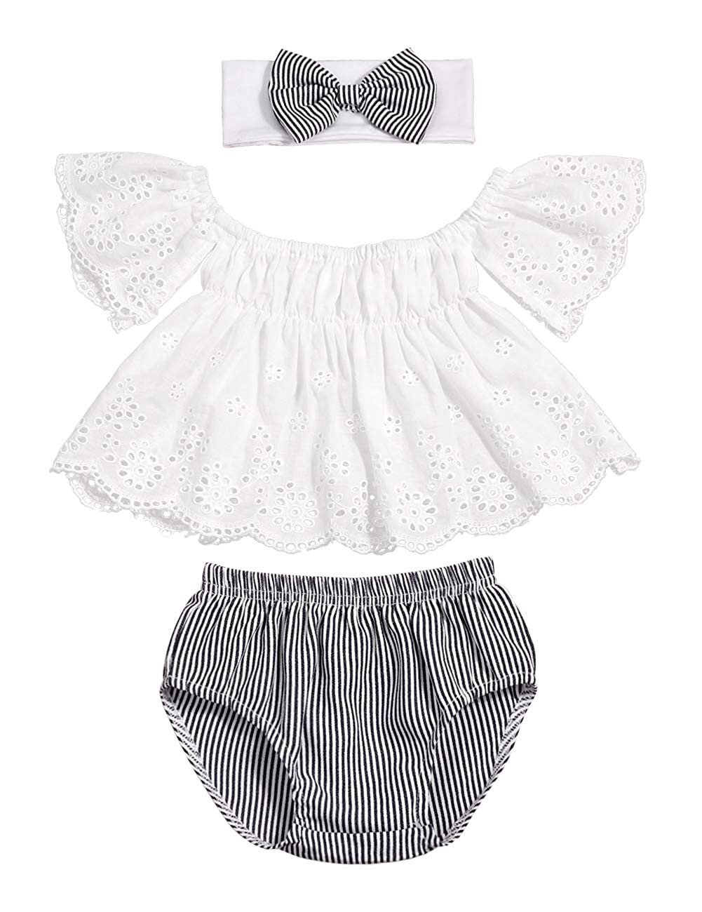 3bc1d429c Amazon.com  Toddler Baby Girls Clothes Lace Off Shoulder Short Sleeve  Tops+Stripe Shorts +Bow Headband Summer Outfits Set ...  Clothing