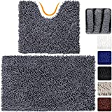 VDOMUS Microfiber Bathroom Contour Rugs Combo, Set of 2 Soft Shaggy Machine Washable Bath Shower Mat and U-shaped Toilet Floor Rug (Grey)