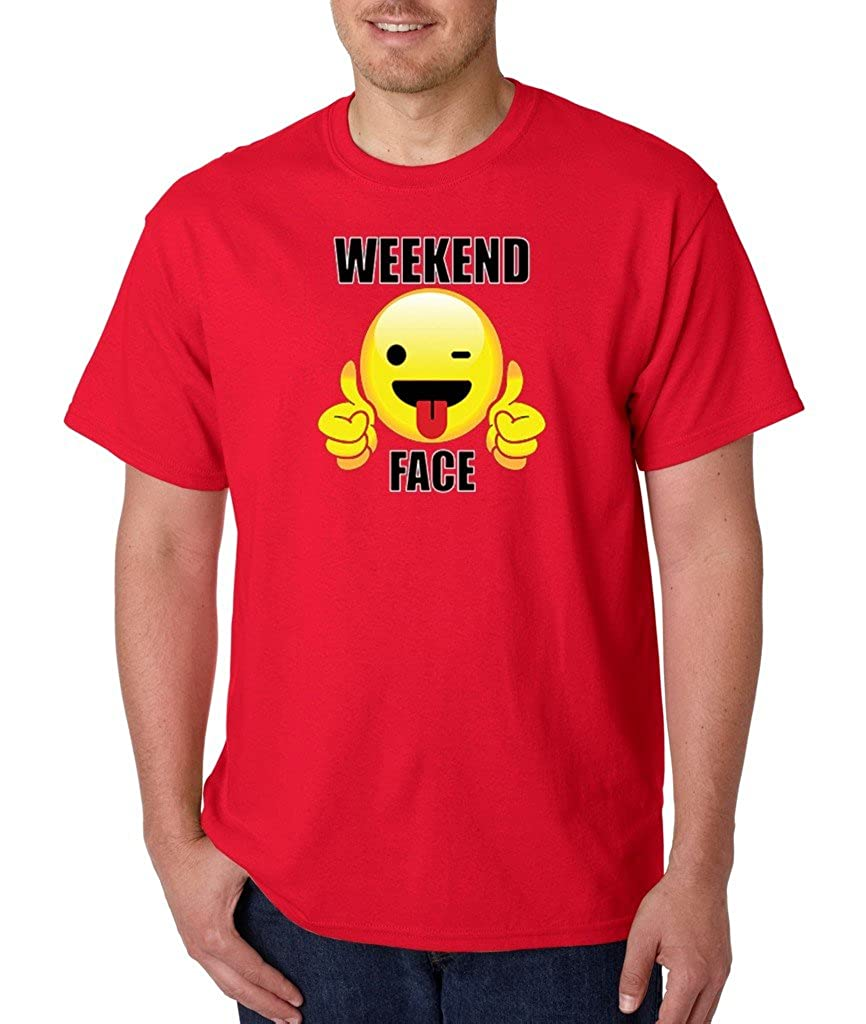 Sunday Funday Weekend Face T-shirt I Love Weekends Shirts Red e8