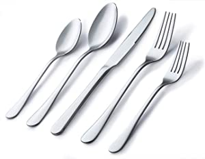 Silverware Set, Briout Flatware Set service for 4, Stainless Steel Cutlery Set 20 Piece Include Upgraded Knife Spoon Fork, Mirror Polished, Dishwasher Safe
