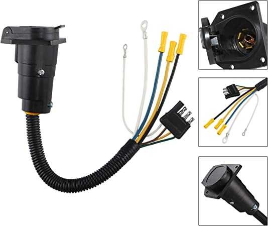 round 4 wire trailer diagram amazon com spurtar wiring adapter plug 12v 4 pin flat to 7 pin  spurtar wiring adapter plug 12v 4 pin