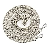 Myathle 12MM Width Purse Chain Strap Replacement Length 47'' Gold Plated Metal Chain Handbags Strap for Clutch Wallet Satchel Tote Bags Shoulder Crossbody Bag Chain Replacement Strap Silver