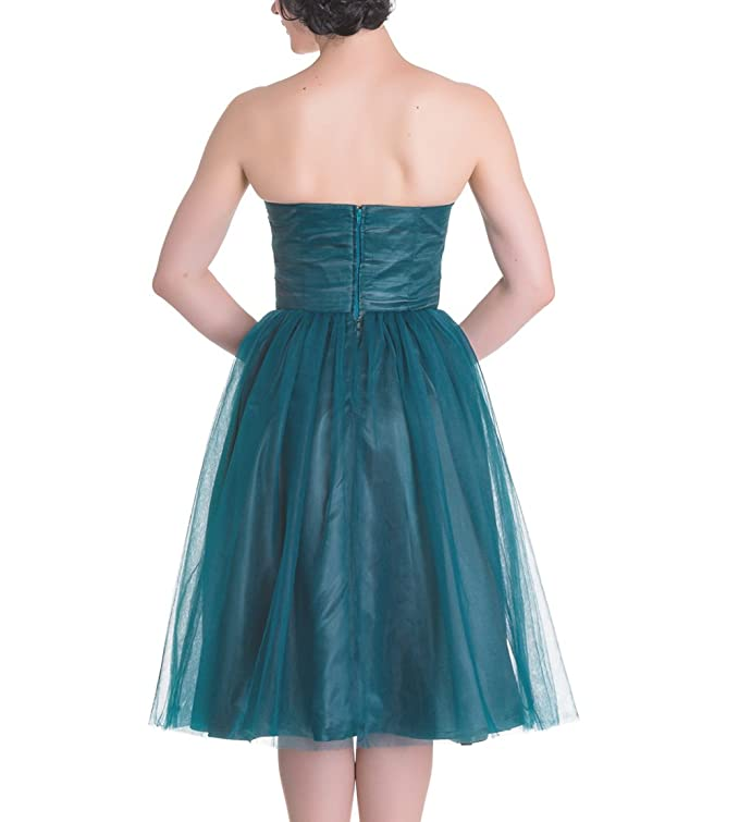 HELL BUNNY Strapless Party Prom Dress TAMARA Net ~ Teal Blue XS 8: Amazon.co.uk: Clothing