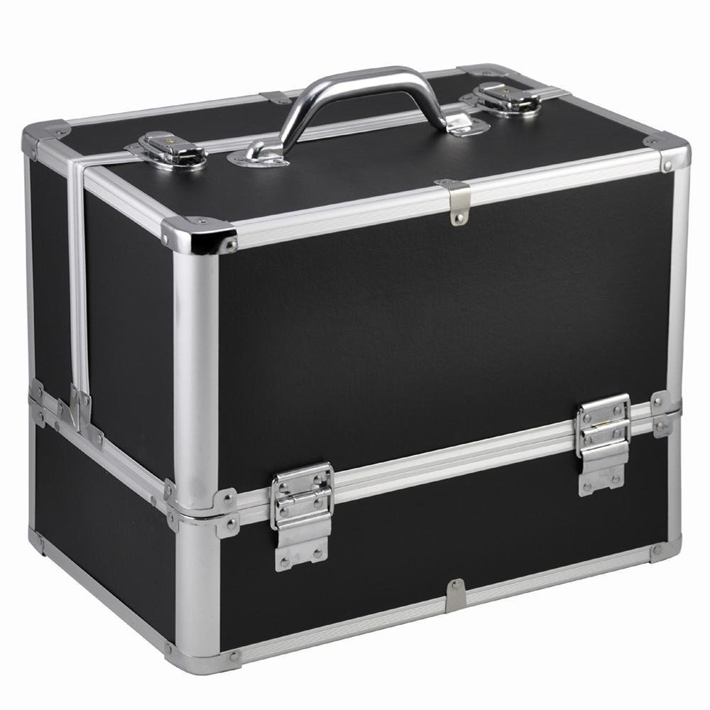 Popamazing Aluminum Extra Large Vanity Case Beauty Make up Case Lockable Cosmetic Case Hairdressing/Nail Varnish/Jewelry/Stuff Box (31 x 21 x 27, Black) PO4kwi0004-1