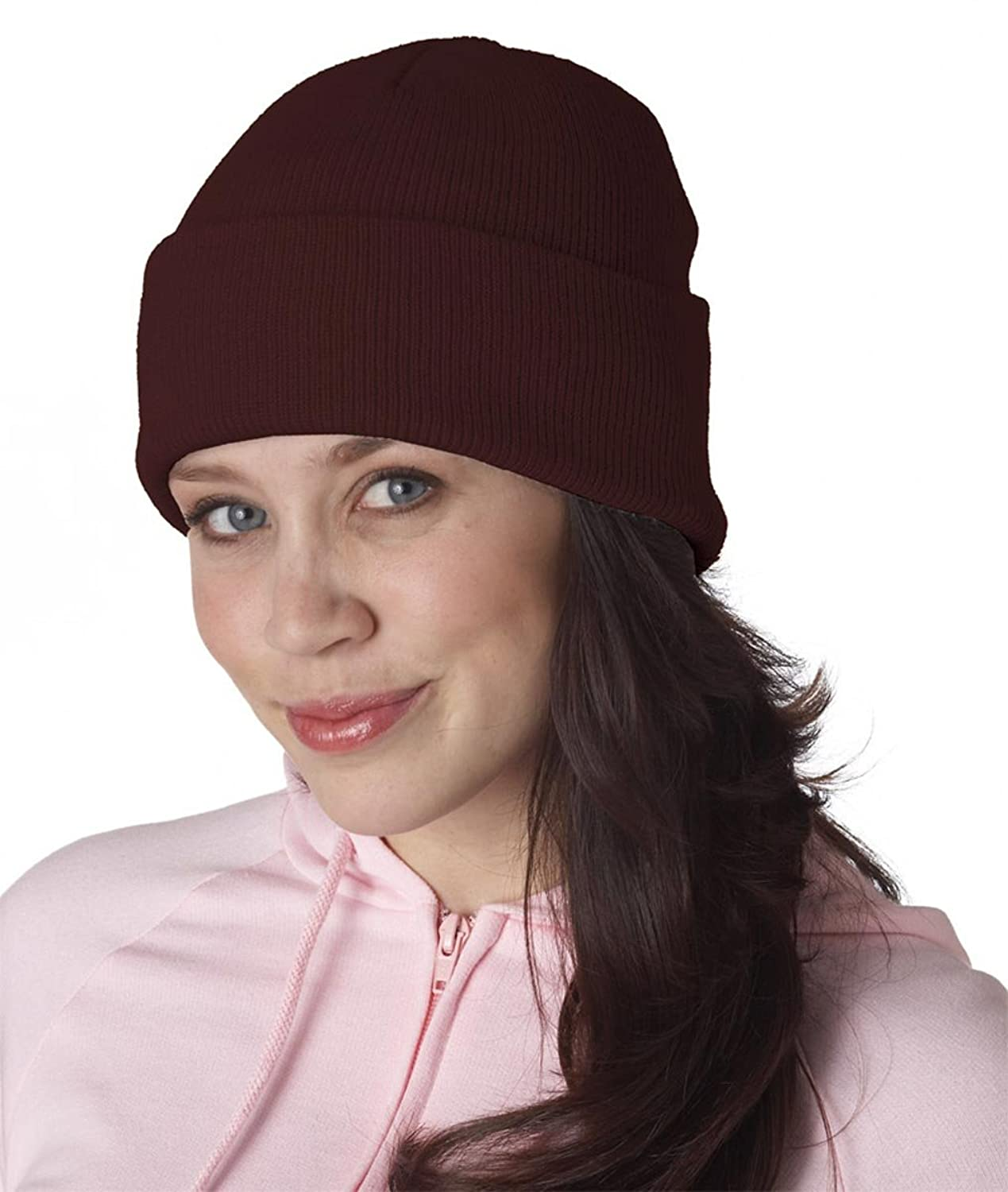 UltraClub Knit Beanie with Cuff one size fits all, Burgundy