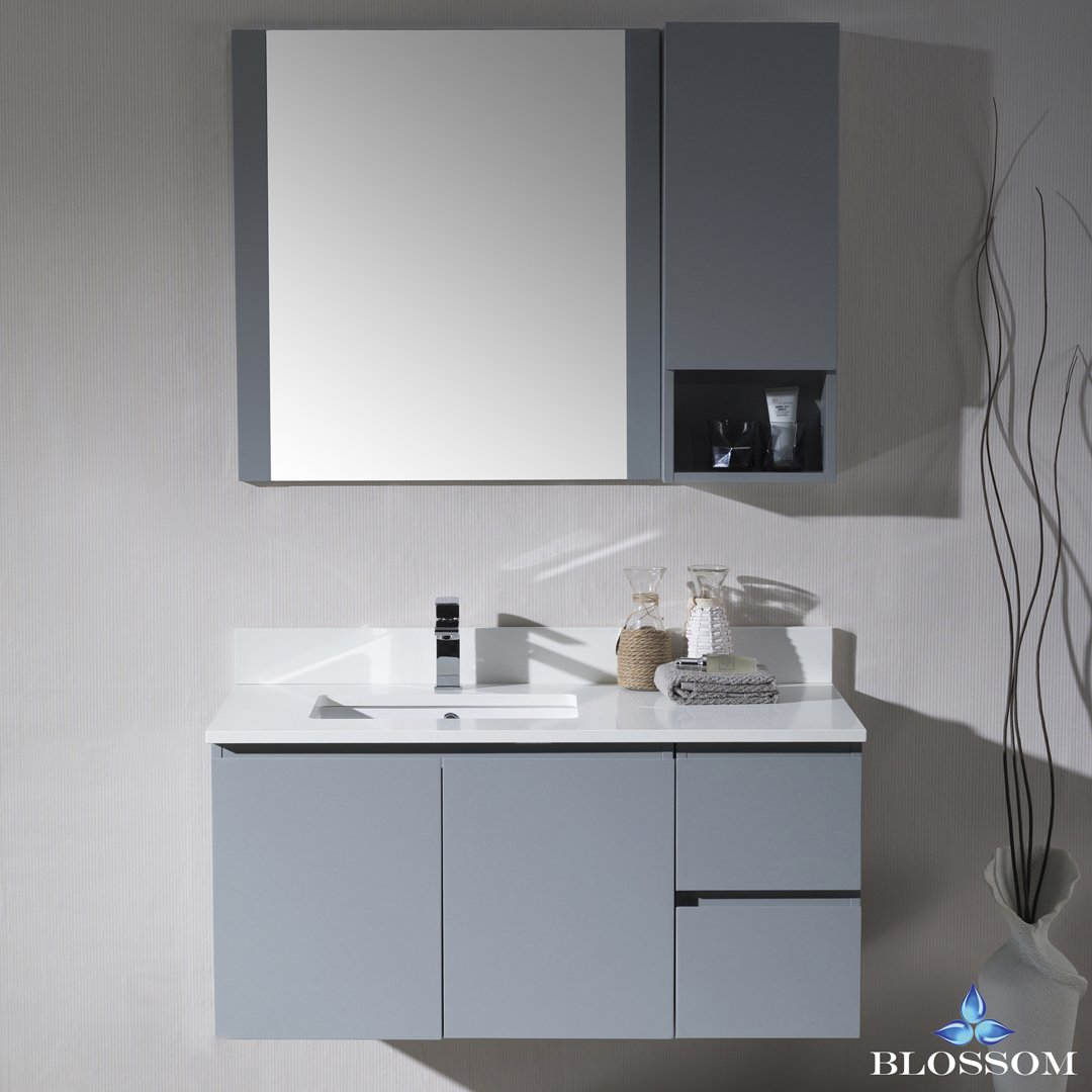 BLOSSOM 000-42-15-L-WH-M Monaco 42'' Wall Mount Left Vanity Set with Mirror and Wall Cabinet Metal Gray
