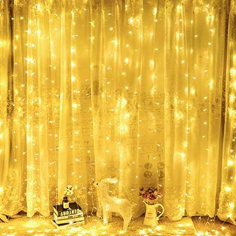 OxyLED Guirnaldas luminosas de exterior, Luces de hadas Cortina de luz LED 306 LED 3x3 metros Luces de hadas, 8 modos con control remoto para bodas de ...