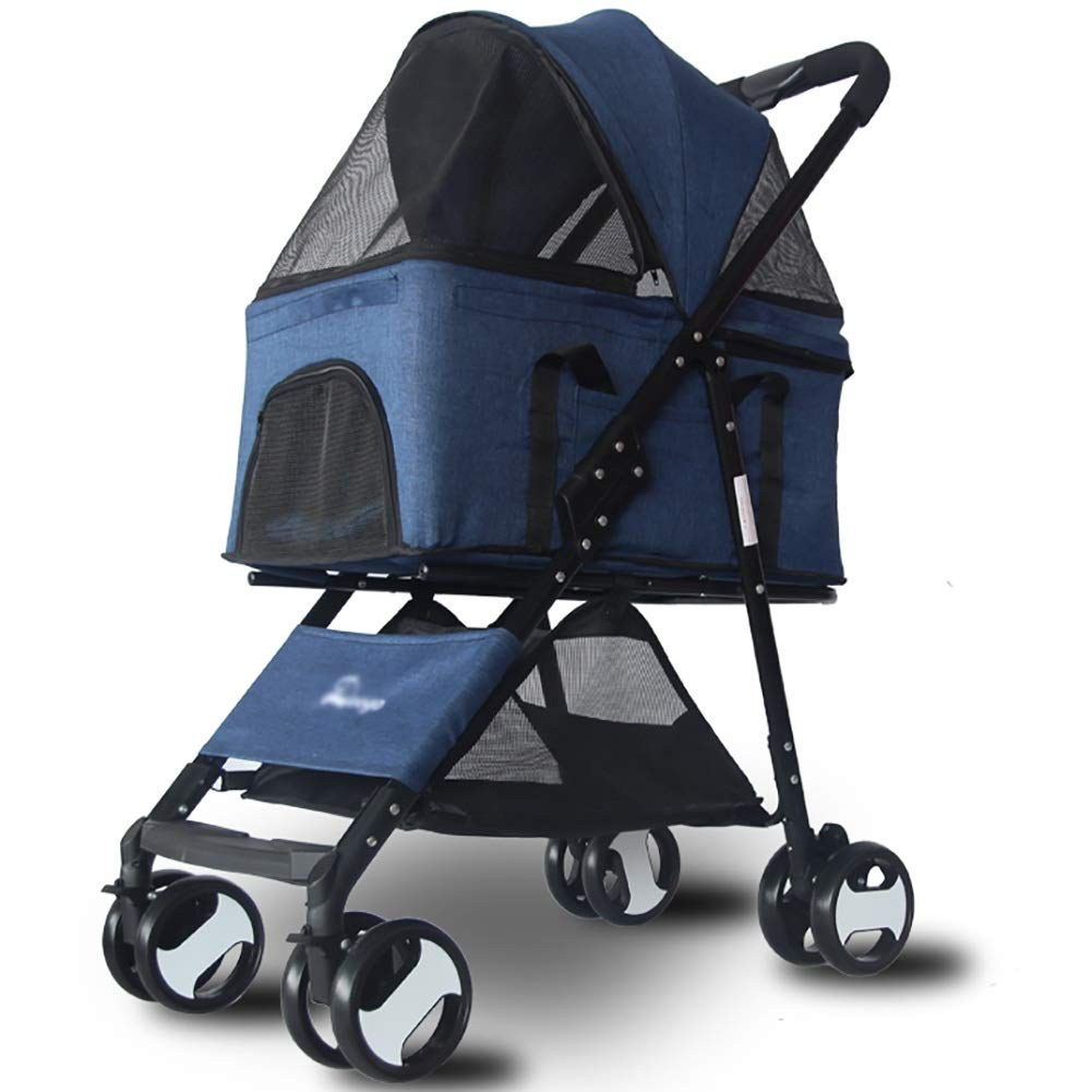 Luxury 8 Rounds Pet Stroller, Portable Foldable Outdoor Trolley for Cat and Dog, One-Key Closed Car, Dark bluee (57 × 72 × 99 cm)