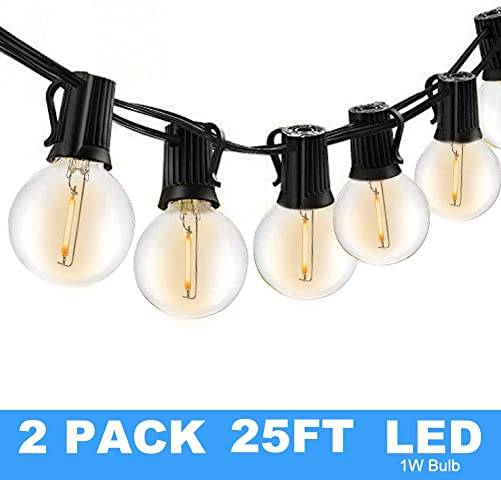 25Ft G40 Globe String Lights with Clear Bulbs,Backyard Patio Lights,Hanging String Lights for Bistro Pergola Deckyard Tents Market Cafe Gazebo Porch Letters Party Decor Indoor Outdoor 2 Pack