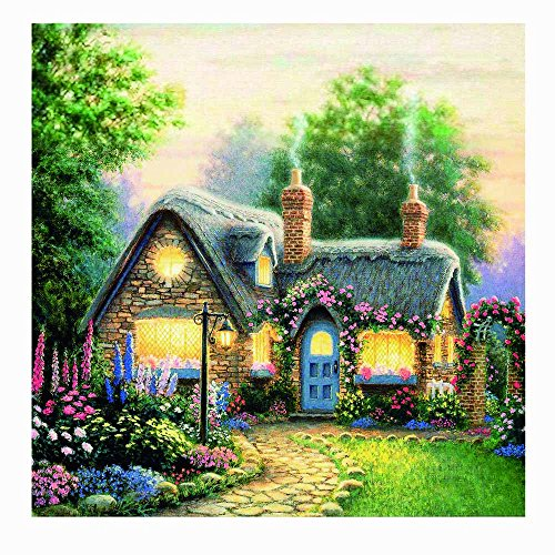Mikilon 5D Diamond Painting Full Drill - Village Cottage and Garden, Fun Unique Art Décor, Beautiful Artwork Tapestry Decoration for Home Or School, 12x12 in