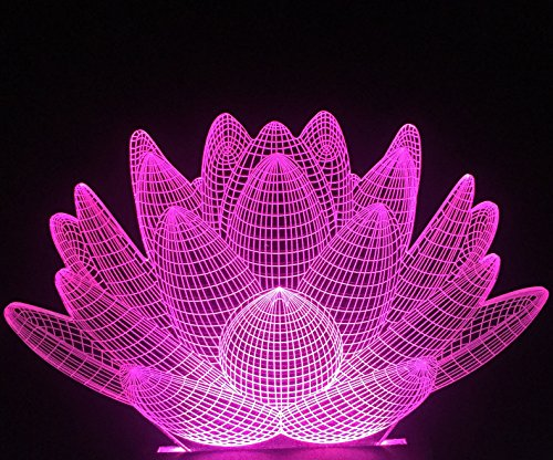 Lamp Table Lotus Blue - Lightingsky 3D Table Lamp Touch Control 7 Colors Night Light USB Desk Lighitng (Lotus Flower)