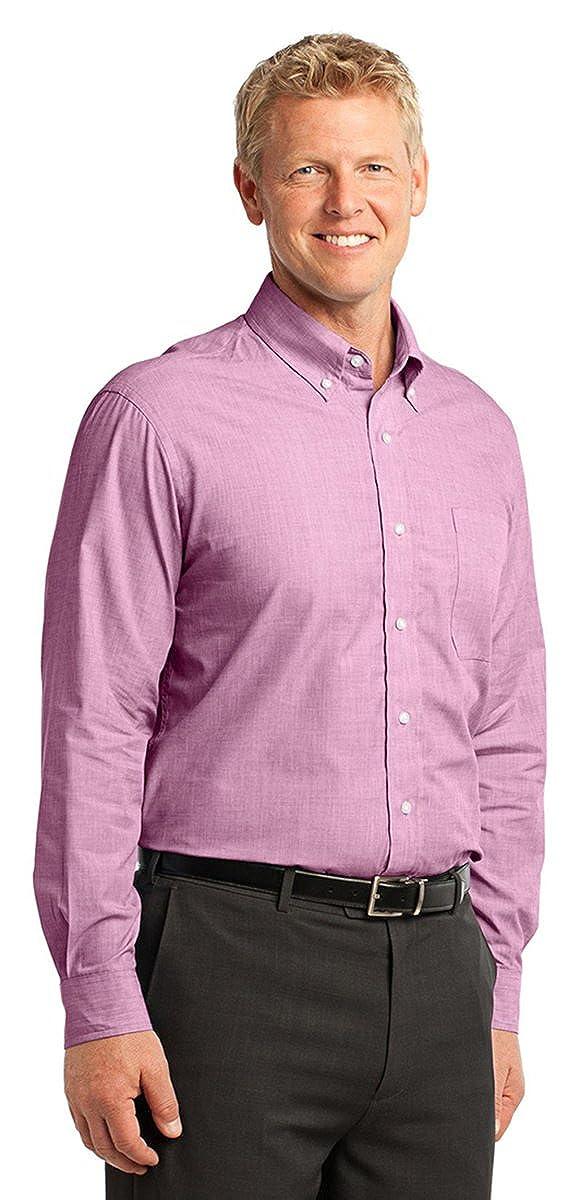 Port Authority Mens Crosshatch Easy Care Poplin Shirt/_Chambray Blue/_XXX-Large