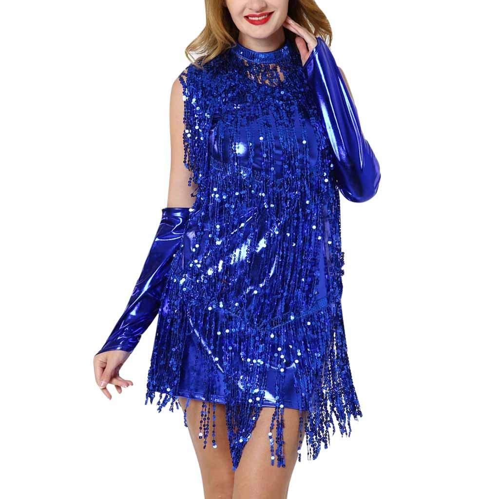 Kiminana Women's Hanging Neck Sequins Fringed Dance Skirt Latin Dance Costume Blue by Kiminana