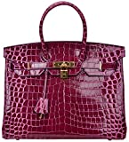 Cherish Kiss Padlock Bag Women Crocodile Leather Top Handle Handbags (35cm, Purple)
