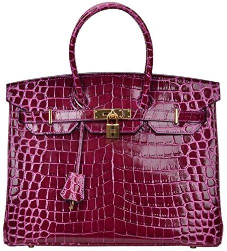 Cherish Kiss Padlock Bag Women Crocodile Leather Top Handle Handbags (35cm, Purple) by Cherish Kiss