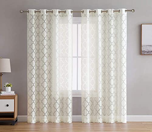 HLC.ME Sheer Voile Grommet Window Curtain Panels for Bedroom, Living Room Nursery Room – 96 inches Long – Provides Privacy Natural Sunlight – Ivory – Lattice Geometric – 54 inches Wide
