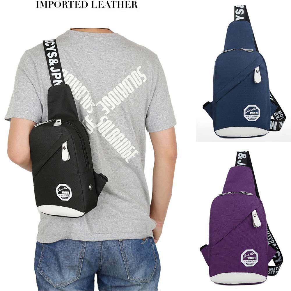 PrettyAll Men's Shoulder Bag Sling Backpack, Multipurpose Crossbody Shoulder Bag Travel Hiking Daypack (Blue, L17W8H26) by PrettyAll Bag (Image #2)
