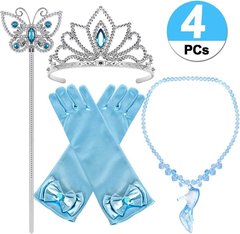 Tacobear Princesa Cenicienta Elsa Disfraz Accesorios Princesa Collar Corona Guantes Varita Mágica para niñas Princesa Joyas Cosplay Princesa Disfraz