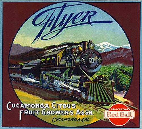 - A SLICE IN TIME Cucamonga Flyer Orange Citrus Fruit Crate Box Label Art Print