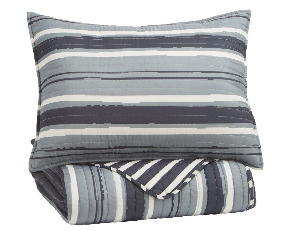 Ashley Furniture Signature Design - Capella Twin Quilt Set - Includes Quilt & 1 Pillow Sham - Cotton - Denim Q771001T