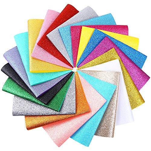 Caydo 20 Pieces 20 Colors Shiny Superfine Glitter Fabric Glitter Felt Sheets for Bag Making, Hat Making, Hair Crafts Making, Jewelry Making, Sewing and Other Decorations