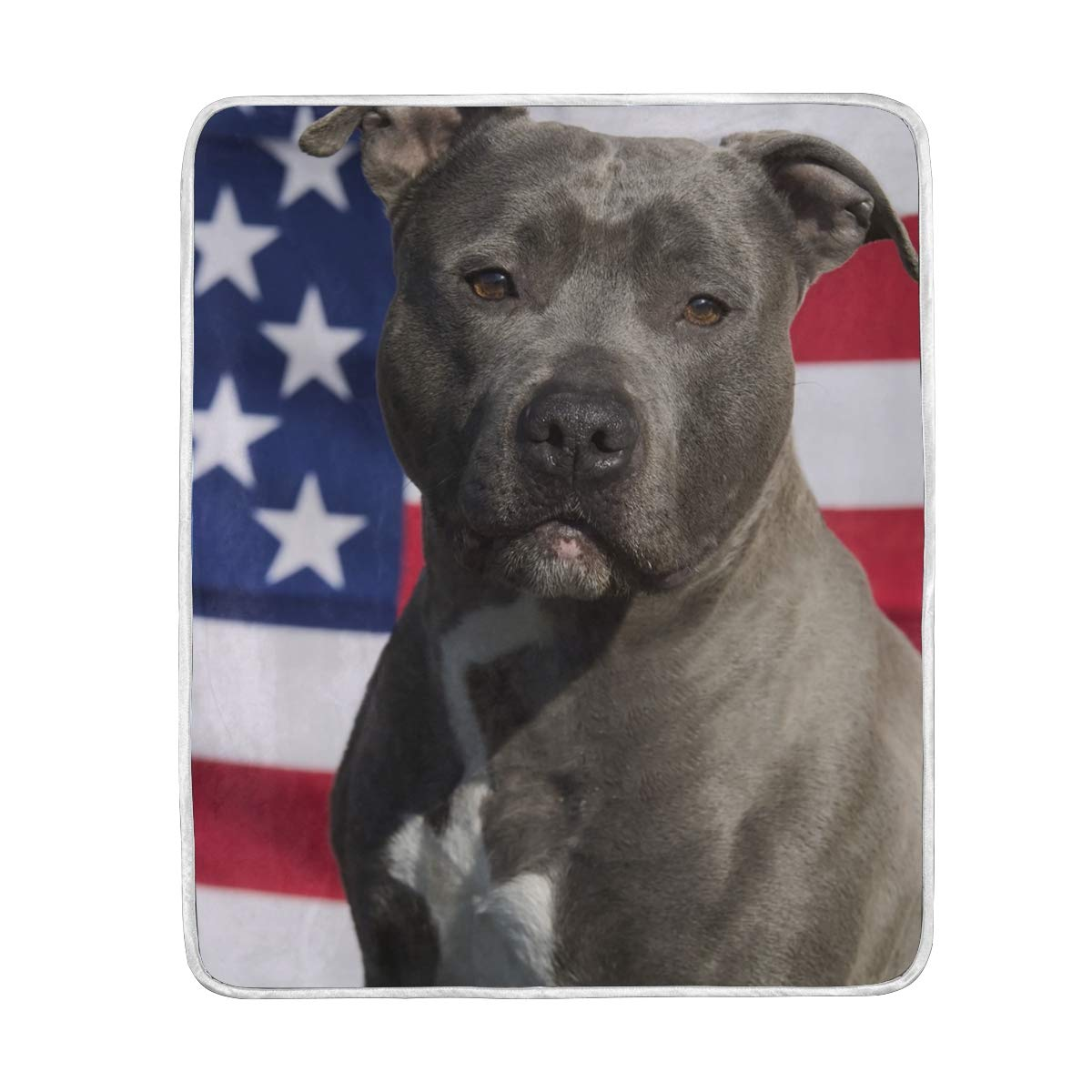 Pitbull American Flag Dog Throw Blanket Soft Warm Cozy Bed Couch Lightweight Polyester Microfiber Size 50'' W x 60'' L for Kids Women Boy