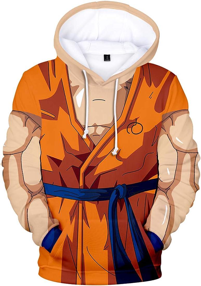 FLYCHEN Sudadera con Capucha Impresa en 3D Dragon Ball para Hombre Goku Cosplay Diseños de Cosplay Wu Super Saiyan Pullover