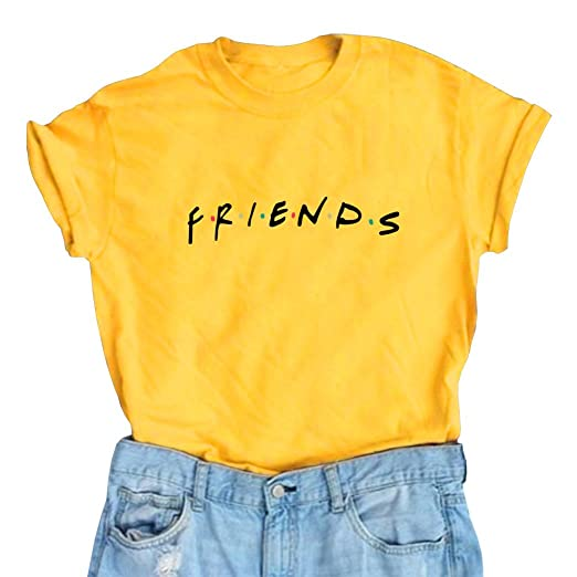 LOOKFACE Women Cute T Shirt Junior Tops Teen Girls Graphic Tees Yellow Small 111f8a471492