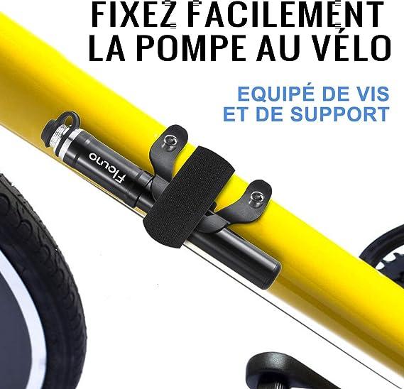 Balles de Sport 120 PSI pour Route Mini-pompe /à Pneu Portable en Alliage Daluminium Pompe /à v/élo pour Valve Presta et Schrader Montage sur Cadre Ballon Argent Montagne BMX VTT