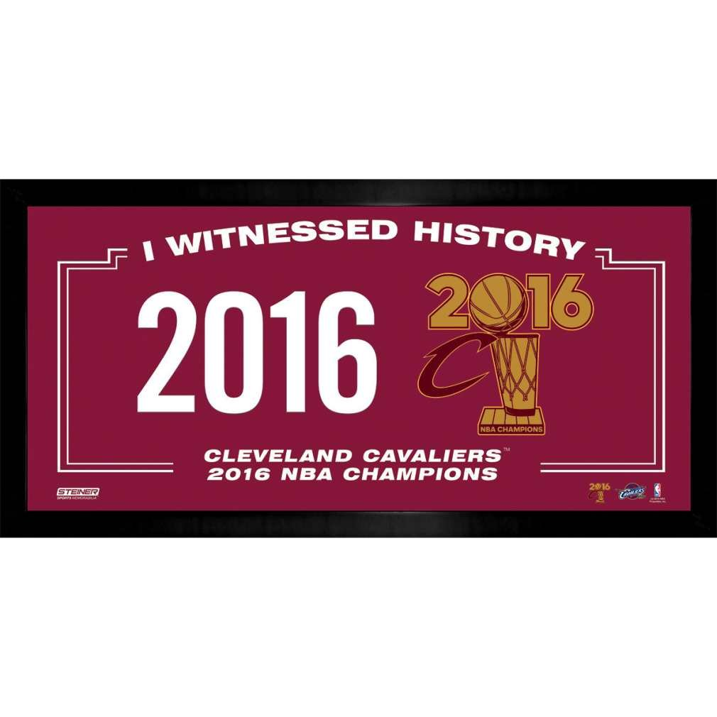 Steiner Sports NBA Cleveland Cavaliers 2016 Champion Logo I witnessed History 10'' x 20'' Collage Photo Frame, Navy