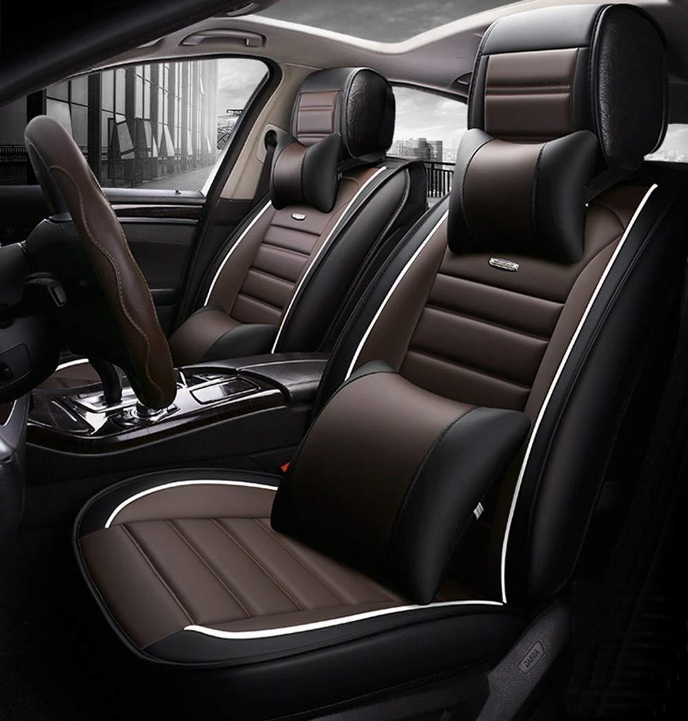 高級レザーチャイルドシートカバー、ユニバーサルチャイルドシートクッションフルセット前身頃腰掛け5枚セット、9ピースセット(カラー:ブラックブラウン)   B07T4LBPB3