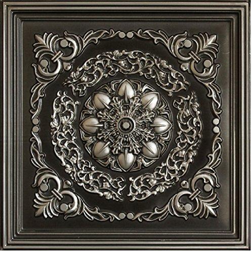 # 247 - Antique Silver 2' x 2' PVC Decorative Ceiling Tile Glue Up/Grid