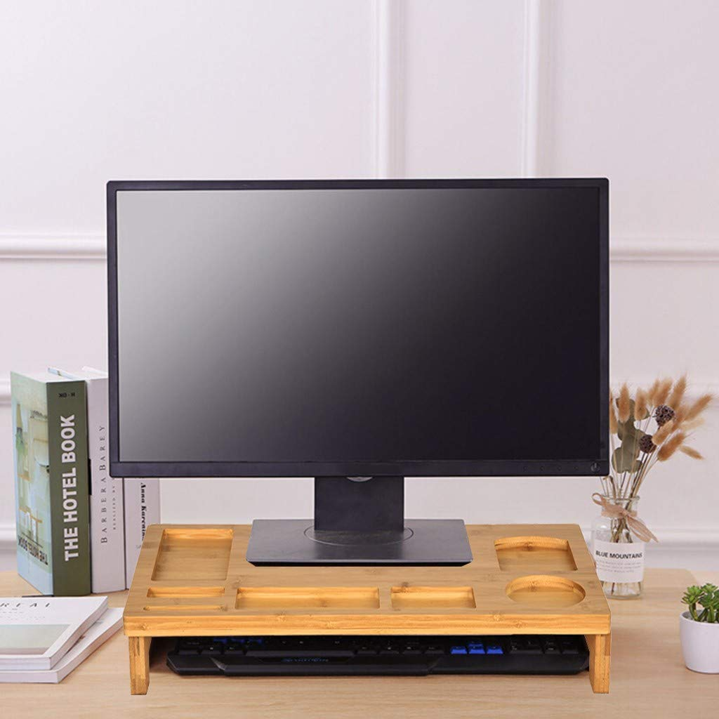 Office Study and Computer Desk 19.3x8.1x4.1in BLACKOBE Monitor Stand Simple Bamboo Wood Computer Riser with 2 Drawers Key Board Storage and Line Holes Desk Laptop TV Screen Heightening Base