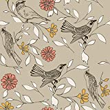 Novogratz BI476 Birds Removable Wallpaper, 20.5'' W x 16.5' L = 28 sq.', Greige