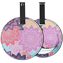 Cheliz PU Leather Round Luggage Tags Suitcase Labels Bag - Set of 2 (Colorful Flower-2)
