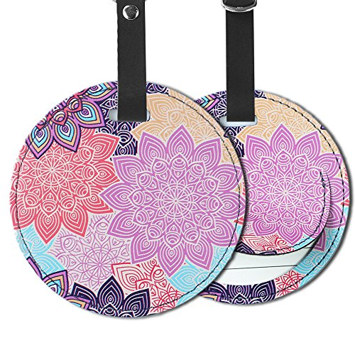 Cheliz PU Leather Round Luggage Tags Suitcase Labels Bag - Set of 2 (Colorful Flower-2) (Tags Round Bag Leather)