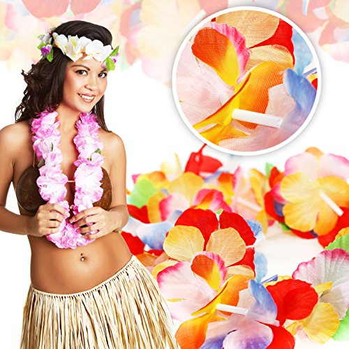 Hawaiian Leis Luau Party Supplies - Bulk 50 Pack Flower Necklaces for Tropical Party Favors Decorations - Colorful Variety of Simulated Silk Floral Lei Beach Theme Parties Kit -