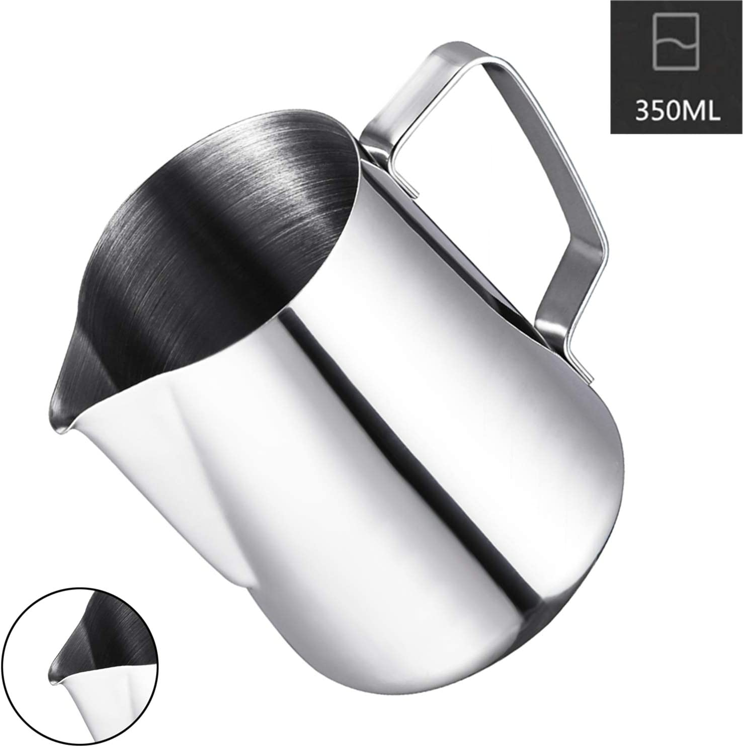 Milk Frothing Pitcher, Coffee4u Stainless Steel Latte Art Creamer Cup Silver 12 oz (350 ml) for Espresso Machines,Mirror Finished