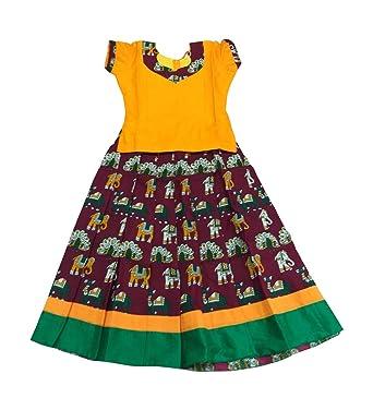 83fdf22468 Kalamkari Cotton Pattu Pavadai Sattai Yellow and Maroon for Baby  Girls/Kids, 9 Years