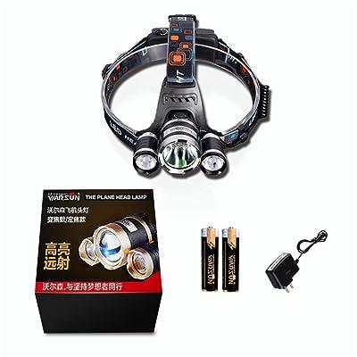Warsun 900Lumen XML-T6Lampe frontale étanche 4modes rechargeable lampe de poche LED par piles 18650, noir