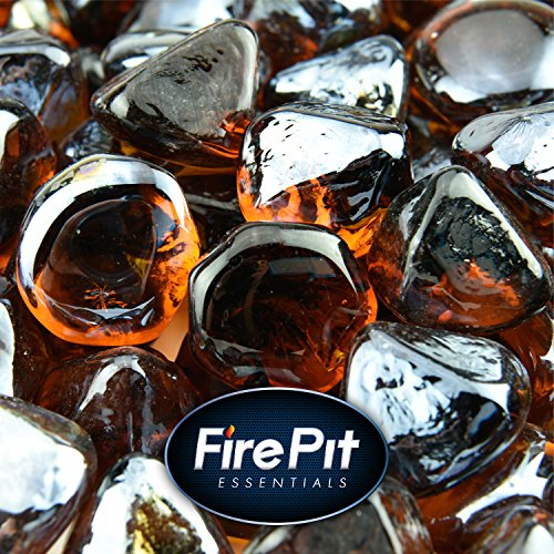 Amber Fire Glass for Indoor and Outdoor Fire Pits or Fireplaces | 10 Pounds | Cowboy Brown, Fire Glass Diamonds, 1 Inch For Sale